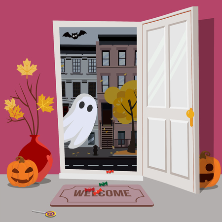 Glowing pumpkin enters the house through an open door. In the hallway flying glowing Ghost. Outside the door of the city autumn landscape at dusk. Flat cartoon style illustration. 스톡 콘텐츠