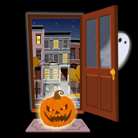 Flat halloween door with angry glowing pumpkin and a Ghost hiding. Open door into autumn starry night view with yellow trees. Cartoon style illustration. Street cityscape on black background