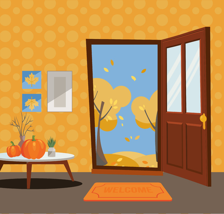 Open door into autumn view with yellow trees. Autumn interior with a coffee table, vases, pumpkins, door mat, orange wallpaper. Sunny good weather outside. Flat cartoon style illustration.
