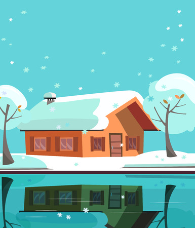 Colored country house on lake. Facade of building is reflected in mirror surface of water. Flat cartoon illustration of winter suburb landskape with private house, snowy trees. One-story house. Фото со стока
