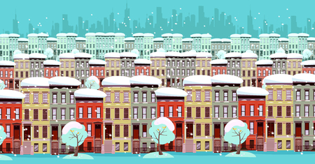 winter cityscape panorama. Three rows of two-storey and three-story houses and the silhouette of a business center in the distance. There is snow, the trees are powdered. Turquoise Flat cartoon Stok Fotoğraf