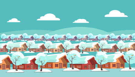 Panoramic landscape of a suburban one-story village. Same houses are located in three rows. There is winter snow weather and snow-covered trees outside. Flat cartoon style illustration
