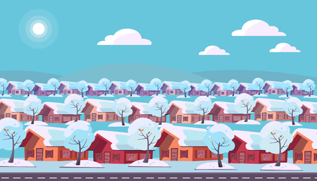 Panoramic landscape of suburban one-story village. Same houses are located in three rows. Winter snow sunny weather and snow-covered trees outside. Flat cartoon style illustration in blue color