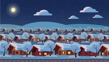 Panoramic night landscape of suburban one-story village. Same houses are located in three rows. Winter snow starry weather, moon, clouds, trees outside. Flat cartoon style illustration 스톡 콘텐츠