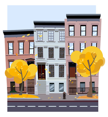 Flat cartoon style illustration of an autumn city street. Three-four-story houses. foliage flies from the trees. Street cityscape. City landscape with autumn trees in the foreground Фото со стока