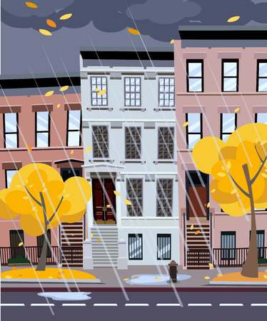 Flat cartoon illustration of autumn rainy city street. Three-four-story uneven houses, foliage flies. Street cityscape. Evening city landscape with autumn trees in the foreground, puddles