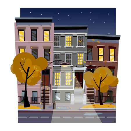 Flat cartoon illustration of autumn fall city street at night. Uneven houses with luminous windows,. Street cityscape with glowing streetlight and starry sky. Town landscape with yellow trees. Фото со стока