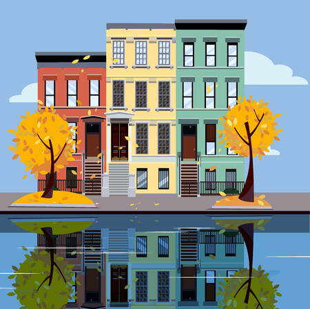 Colored apartment buildings on lake. Facades of buildings are reflected in mirror surface of water. Flat cartoon illustration of autumn city. Three-four-story colorful houses. Street cityscape. Фото со стока