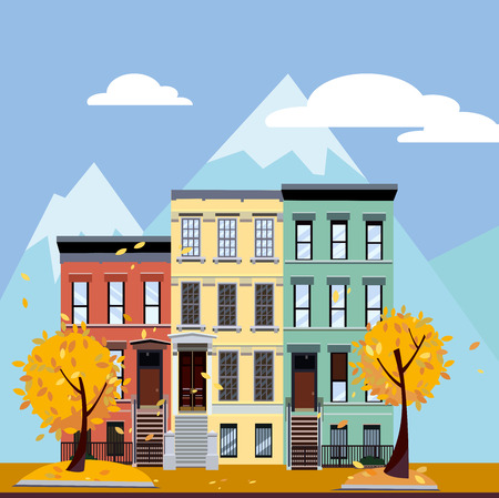 Multicolored multi-party houses at the foot of the mountains. Flat cartoon illustration of Autumn city landscape. Three-four-story colorful houses under clouds and blue sky. Street cityscape. Stock Photo