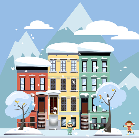 Flat cartoon style illustration of an winter city street with mountains. Three-four-story houses. snow-covered trees and flying snowflakes. Day Street cityscape with playing children 스톡 콘텐츠
