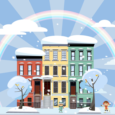 Flat cartoon style illustration of an winter city street with rainbow. Three-four-story houses. snow-covered trees and flying snowflakes. Day Street cityscape with playing children