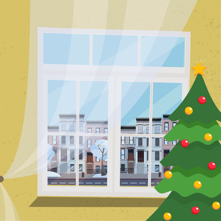 A new-year flat interior with a decorated Christmas tree, standing next to a large window with a drawn tulle with a view of the citys elegant landscape, low-rise apartment buildings. cartoon Stock Photo