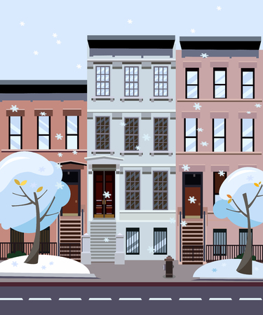 Flat cartoon style illustration of an winter city street. Three-four-story houses. snow-covered trees and fluing snowflakes. Street cityscape. Day city landscape with trees in the foreground