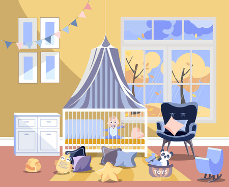 Newborn kid nursery room interior flat illustration of bedroom furniture. Childrens room with toys, chest of drawers with changing board, easy chair, bed with boy, window with autumn landscape