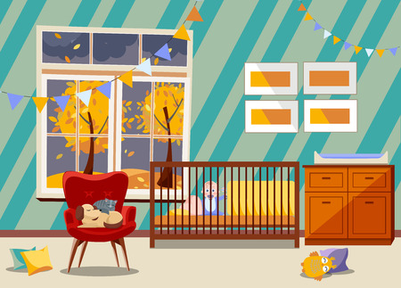 Bright Newborn kid nursery room interior, bedroom furniture. Flat Childrens room with toys, armchair, easy chair with sleeping cat and dog, garland of flags, boy in bed, window with fall landscape
