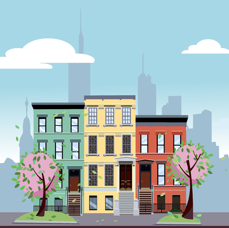 Multicolored multi-party cozy houses on background of skyscrapers of business center of city. Flat cartoon illustration of spring city landscape. Street cityscape with pink flowers and blossom. Фото со стока
