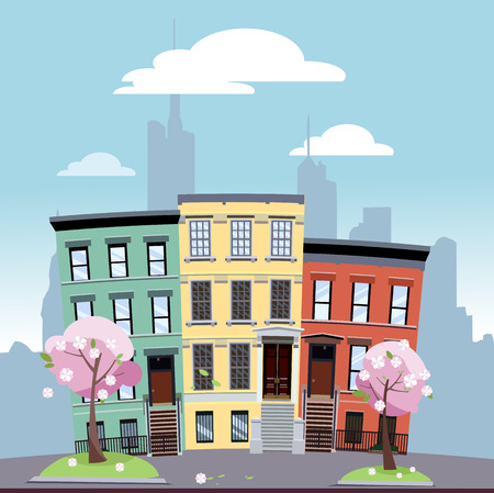 Urban area of low bright colored houses against the background of the silhouette of large city with flowering trees in the foreground. Spring cityscape on a sunny day.Flat cartoon illustration