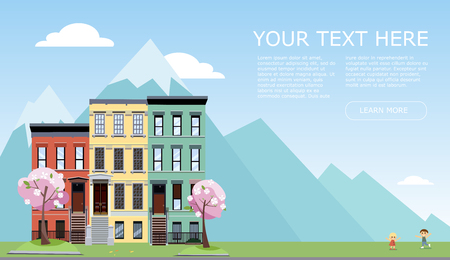 Horizontal banner with free spase tor text. Spring city street with mountains. 3 houses with blooming pink trees, grass lawn and playing children.Day Street cityscape. Flat cartoon illustration