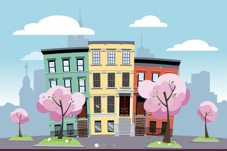 Funny multi-colored low city apartment buildings on the background of a big city. In front of the houses are blooming spring trees on green lawns. Flat cartoon illustration