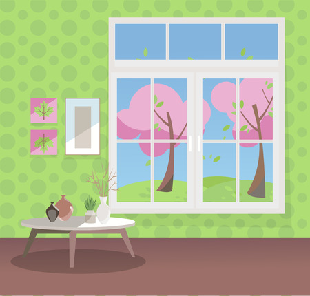 Window with a view of pink blooming trees. Spring living room interior with coffee table, vases, pictures on green wallpaper. Sunny good weather outside. Flat cartoon style illustration. Stock Photo
