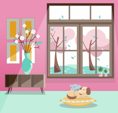 Window with view of pink blooming trees, flying leaves. Spring interior with sleeping cat and dog, vase, pictures on pink wallpaper. Rainy good weather outside. Flat cartoon style illustration.