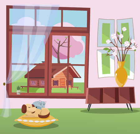 Window with a view of blossom trees and country wood house. Spring interior sleeping cat and dog on pillow, shelf, vase with branches. nonparallel objects. Sunny weather outside. Flat cartoon