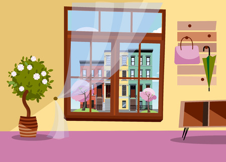 Window with view of blooming trees and Multicolored multi-party cozy houses. Spring brown interior with tree in tub,umbrellas on hanger. Cityscape in blossom outside. Flat cartoon illustration.