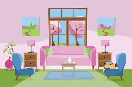 Living room in pink green blue colors. Pink sofa with table, nightstand, paintings, lamps,carpet, porcelain set,soft chairs in room with large window. Outside spring blossom trees. Flat cartoon Stock Photo