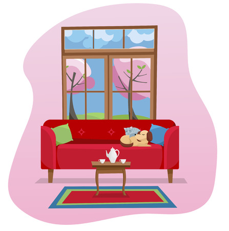 Modern flat design concept Living room interior in color spot on white background. Red sofa with table,carpet, in room with large window. Outside spring nature with blossom trees. Flat cartoon
