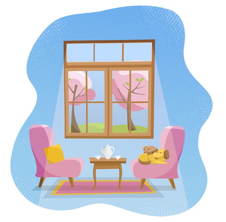 Cozy flat concept home Living room interior. Pink soft armchairs with table and sleeping pets in room with large window.Outside spring sunny nature with blooming trees.Flat cartoon illustration