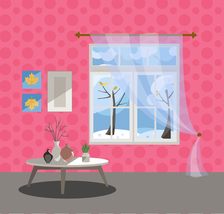 Window with a view of snow trees and flying snowflakes. Winter interior with a coffee table, vases, tulle, pink wallpaper. Sunny good weather outside. Flat cartoon style illustration. Reklamní fotografie