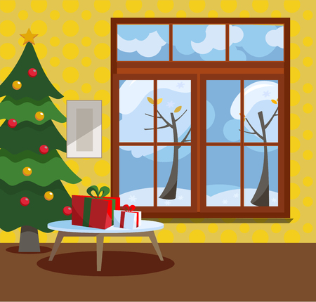 Wooden window overlooking the winter snow-covered trees. Yellow walls, New Year tree and a table with gifts in cardboard boxes with bows in the interior. Flat cartoon style illustration.