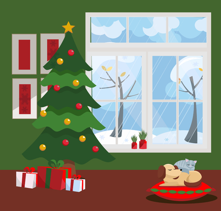 Window overlooking winter snow-covered trees. Green wall, New Year tree and table with gifts in cardboard boxes with bows, with sleeping cat and dog in the interior. Flat cartoon illustration.