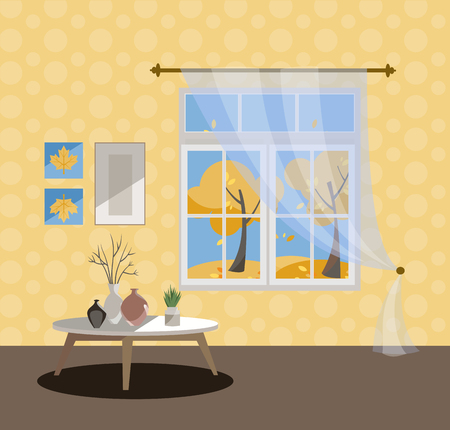 Window with a view of yellow trees and flying leaves. Autumn interior with a coffee table, vases, tulle, yellow wallpaper. Sunny good weather outside. Flat cartoon style illustration.