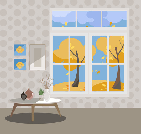 Window with a view of yellow trees and flying leaves. Autumn interior with a coffee table, vases, pictures on grey wallpaper. Sunny good weather outside. Flat cartoon style illustration.