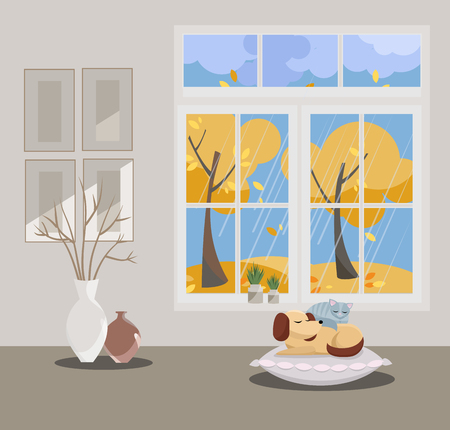 Window with a view of yellow trees and flying leaves. Autumn interior with sleeping cat and dog, vases, pictures on grey wallpaper. Rainy good weather outside. Flat cartoon style illustration.