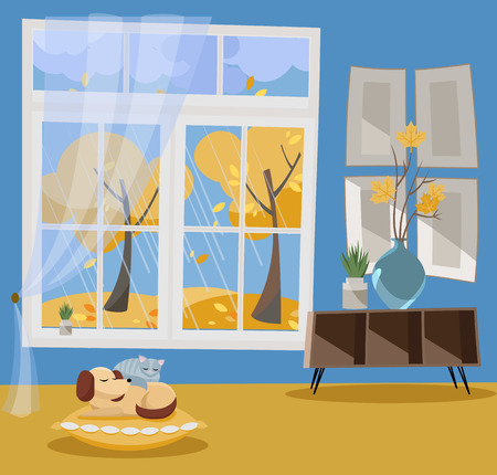 Window with a view of yellow trees and flying leaves. Autumn interior sleeping cat and dog on pillow, shelf, vase with branches. nonparallel objects. Rainy weather outside. Flat cartoon