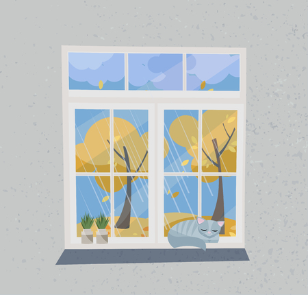 Autumn view from the window. Closed window overlooking the Indian summer, flying foliage, yellow trees. On the windowsilll plants in pots and sleeping cat. Flat cartoon style illustration. Reklamní fotografie