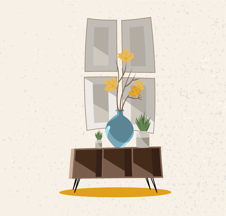 Illustration of an interior group. A coffee table with a glass vase, indoor plants and posters on the wall. Beige wall with rough texture. Flat cartoon style illustration.