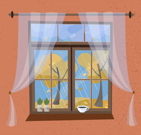 Autumn view from the window with cornice and tulle. Closed wood window view to Indian summer, flying foliage, yellow trees. On windowsilll plants in pots, coffee cup. Flat cartoon