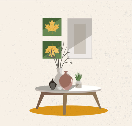 Illustration of an interior group. A table on legs with a clay vases, indoor plants and posters on the wall. Beige wall with rough texture. Flat cartoon style illustration.