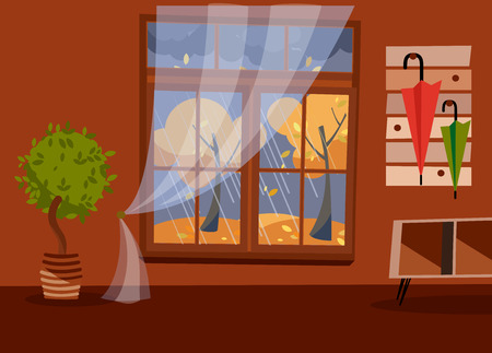 Window with a view of yellow trees and foliage. Autumn brown interior with tree in tub, a coffee table and a umbrellas on hanger. Evening rainy weather outside. Flat cartoon illustration. Stock Photo