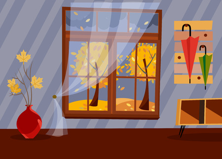 Window with a view of yellow trees and foliage. Autumn brown interior with branches in vase, bedside table in hallway and umbrellas on hanger. Evening good weather outside. Flat cartoon