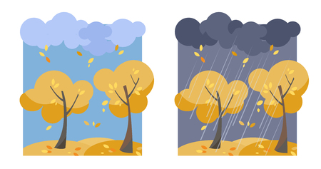 Autumn yellow trees with flying leaves. A set of two non-parallel pictures with a view of good sunny weather and a rainy evening.