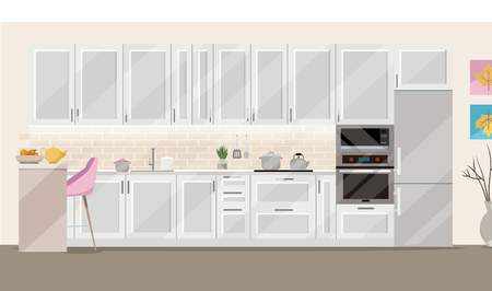 Flat illustration Kitchen set of white color on blue background with kitchen accessories: pots, kettle, fridge, oven, microwave.