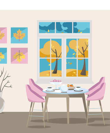 Flat illustration Dining table with chairs and coffee cups near window with autumn view and yellow thees, colorful illustration in cartoon flat style on beige background.