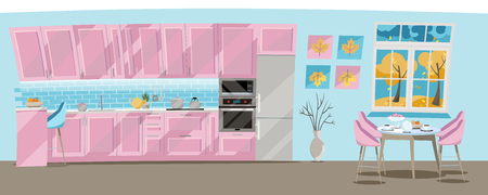 Flat illustration Kitchen set of pink color on blue background with kitchen accessories: pots, kettle, fridge, oven, microwave. Dining table by window with tea and teapot. outside the window is autumn