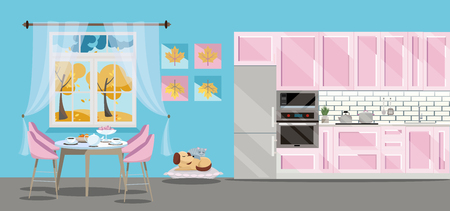 Flat illustration Kitchen set of pink color on blue background with cat dog ang kitchen accessories: fridge, oven, microwave. Dining table by window with tea and teapot. outside the window is autumn.