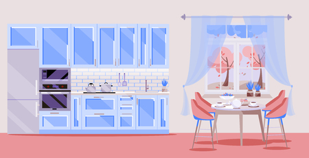 Flat illustration blue Kitchen set on pink background with kitchen accessories: fridge, oven, microwave. Dining table with 4 chairs by window with curtains, tea, teapot. autumn outside .