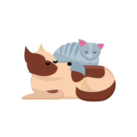Cozy pet friends concept. Grey cat sleaps on dog. Dog and cat together. Funny dog with cat are best friends. cute sleeping dog and cat. best friends. Flat style vector character illustration Иллюстрация